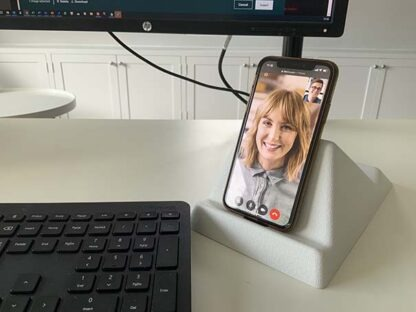 The Standii phone and tablet stand being used for a video call