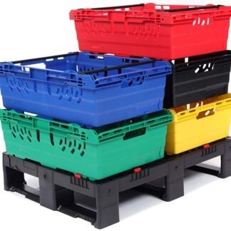 5 Multinest plastic crates are shown in different colours. They are stacked on a plastic pallet.