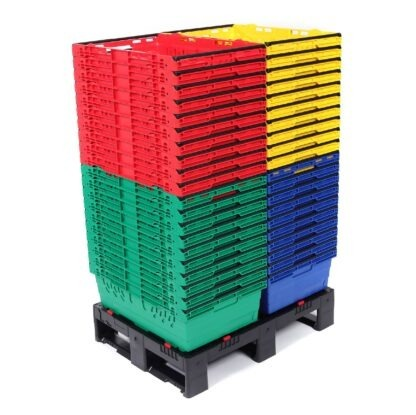 A large quantity of Multinest plastic crates are shown in 4 colours. They are nested inside each other and standing on a plastic pallet.
