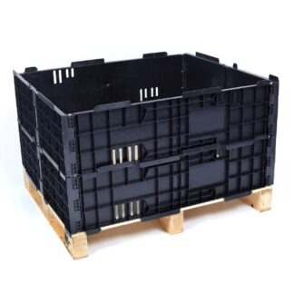 The Regen plastic pallet collar in black, stacked 2 high.