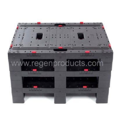 The Regen plastic pallet stacked 3 high