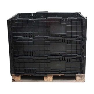 The Regen Euro plastic pallet collar in black, stacked 3 high.
