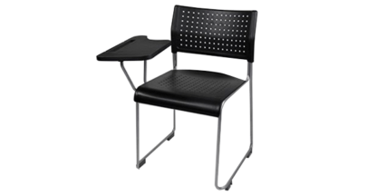 The Public stacking chair with tablet accessory fitted